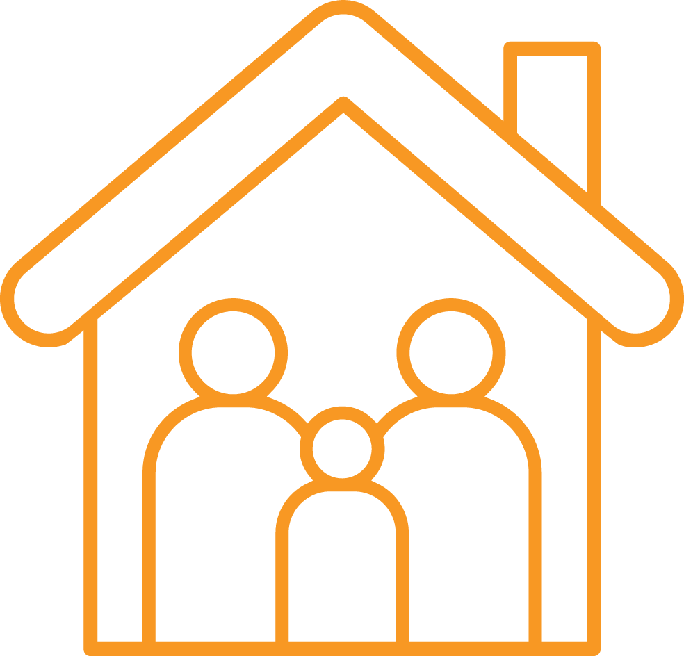illustration of a family in a house