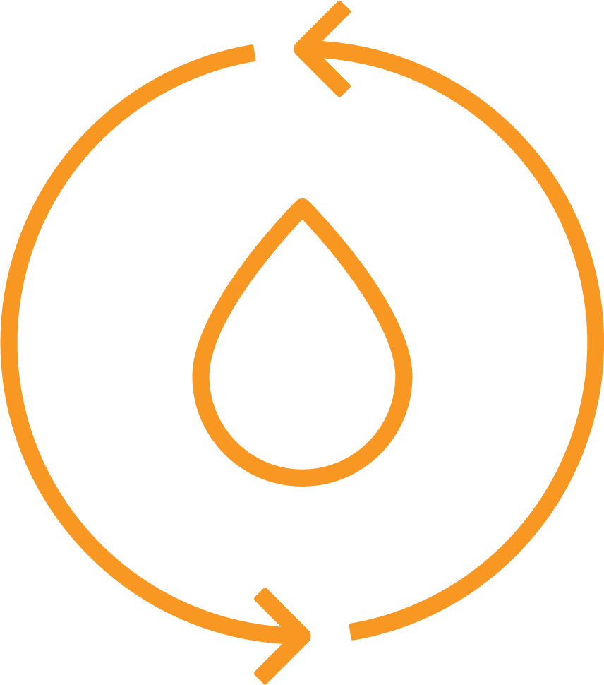 illustration of a water droplet with circle and arrows surrounding it